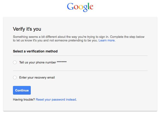 Fake Google verification page
